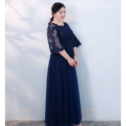 A-line Floor-Length Blue Tulle Plus Size Formal Dress Crew Neck Lace-up 3/4 Sleeves Evening Dress