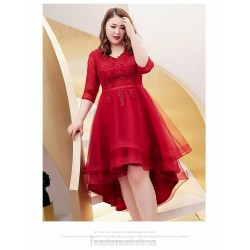 A-line Front Short Rear Length Red Plus Size Dress V-neck Lace-up 3/4 Sleeves Evening Dress With Appliques/Sequines