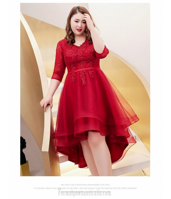 A-line Front Short Rear Length Red Plus Size Dress V-neck Lace-up 3/4 Sleeves Evening Dress With Appliques/Sequines New