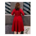A-line Medium-length Red Spandex Plus Size Dress Lace-up V-neck 3/4 Sleeves Evening Dress With Appliques/Sequines New
