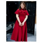 A-line Ankle-length Red Spandex Plus Size Dress Fashion Stand Collar Lotus leaf Edge Evening Dress New