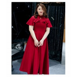 A Line Ankle Length Red Spandex Plus Size Dress Fashion Stand Collar Lotus Leaf Edge Evening Dress