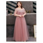 A-line Floor-length Bean Paste Tulle Lace Plus Size Formal Dress Half Sleeves Lace-up Illusion Crew-neck Evening Dress New