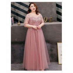 A Line Floor Length Bean Paste Tulle Lace Plus Size Formal Dress Half Sleeves Lace Up Illusion Crew Neck Evening Dress
