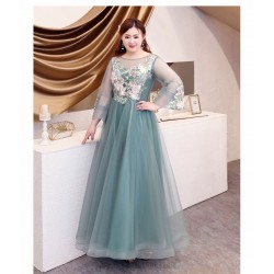 Elegant Floor Length Green Tulle Plus Size Dress Illusion Crew Neck Lace Up Long Sleeves Exquisite Embroidery Prom Dress