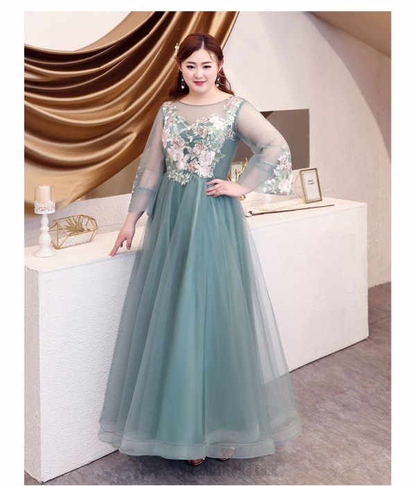 Elegant Floor-length Green Tulle Plus Size Dress Illusion Crew Neck Lace-up Long Sleeves Exquisite Embroidery Prom Dress New