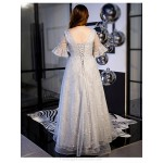 Elegent Floor-length Grey Plus Size Dress Fashion V-neck Lace-up Half Sleeves Evening Dress With Sequines New