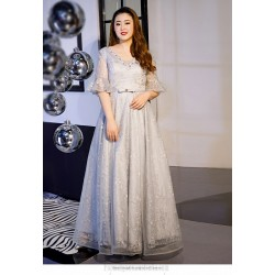 Elegent Floor Length Grey Plus Size Dress Fashion V Neck Lace Up Half Sleeves Evening Dress With Sequines