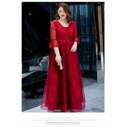 A-line Floor-length Burgundy Tulle Plus Size Dress V-neck Lace-up 3/4 Sleeves Evening Dress With Sequines/Sashes