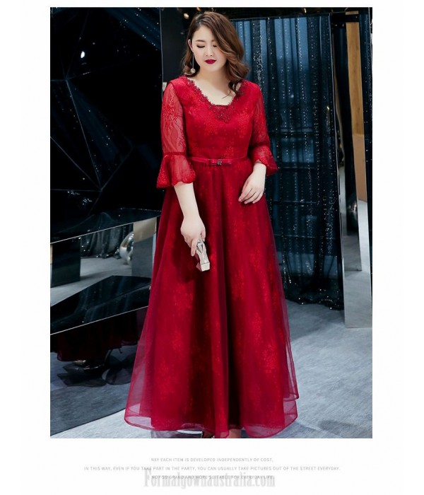 A-line Floor-length Burgundy Tulle Plus Size Dress V-neck Lace-up 3/4 Sleeves Evening Dress With Sequines/Sashes New
