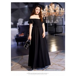 Sexy Floor-length Black Chiffon Lace Plus Size Dress Off The Shoulder Lace-up Evening Dress