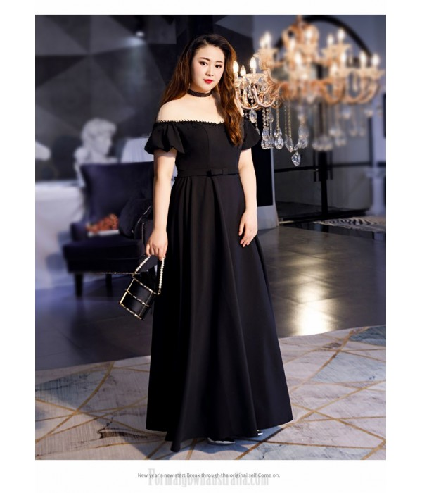Sexy Floor-length Black Chiffon Lace Plus Size Dress Off The Shoulder Lace-up Evening Dress New