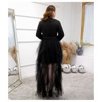 New Fashion Suit neckline Tulle Spandex Plus Size Dress Long Sleeves Zipper Back Prom Dress New