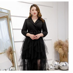 New Fashion Suit Neckline Tulle Spandex Plus Size Dress Long Sleeves Zipper Back Prom Dress