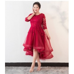 Fashion Short Front And Long Back Plus Size Formal Dress Lace Crew Neck Lace Up Party Dress