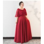 A-line Floor-length Burgundy Satin Plus Size Formal Dress Fashion Lace Shawl Lace-up Evening Dress New