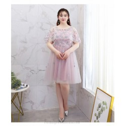 Elegant Knee-length Bean Paste Plus Size Formal Dress Fashion Lace Shawl Lace-up Cocktail Dress