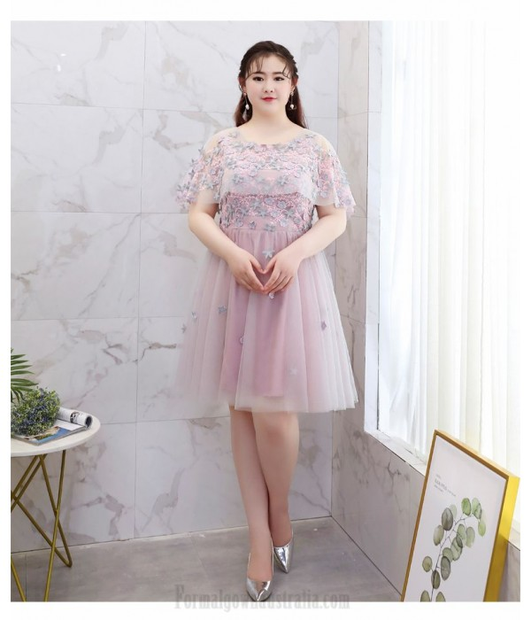 Elegant Knee-length Bean Paste Plus Size Formal Dress Fashion Lace Shawl Lace-up Cocktail Dress New