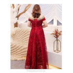 Fashion Floor-length Red Plus Size Formal Dress Off The Shoulder Lace-up Prom Dress With Sequines New