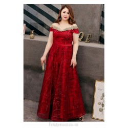 Fashion Floor-length Red Plus Size Formal Dress Off The Shoulder Lace-up Prom Dress With Sequines