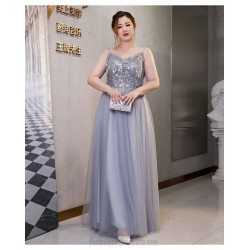 Elegant Floor-length Smoky Grey Plus Size Formal Dress Off The Shoulder Spaghetti Straps Lace-up Evening Dress With Sequines