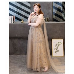 Fashion Floor-length Deep Champagne Plus Size Formal Dress Spaghetti Straps V-neck Back With Bowknot Removable Evening Dress With Sequines