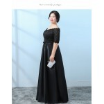 Allure Floor-length Black Lace Satin Plus Size Formal Dress Off The Shoulder Lace-up Half Sleeves Eveing Dress New