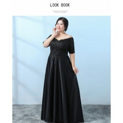 Allure Floor-length Black Lace Satin Plus Size Formal Dress Off The Shoulder Lace-up Half Sleeves Eveing Dress