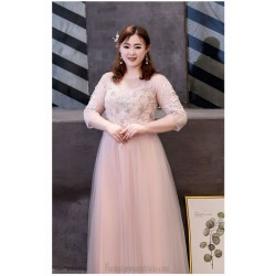 Elegant Floor Length Meat Pink Tulle Plus Size Dress Illusion Crew Neck Lace Up Exquisite Embroidery 3 4 Sleeves Prom Dress With Beading