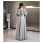 Elegant Floor-length Grey Tulle Plus Size Dress Off The Shoulder Lace-up Evening Dress With Appliques New