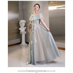 Elegant Floor Length Grey Tulle Plus Size Dress Off The Shoulder Lace Up Evening Dress With Appliques