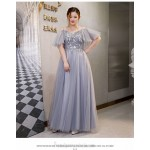 Fashion Floor-length Grey Tulle Plus Size Dress Off The Shoulder Lace-up Prom Dress With Sequines New