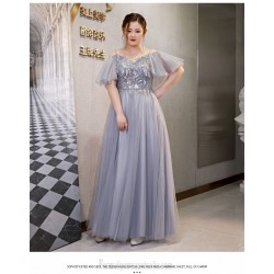 Fashion Floor Length Grey Tulle Plus Size Dress Off The Shoulder Lace Up Prom Dress With Sequines
