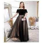 Noble Temperament Floor-length Black Black and Brown Plus Size Dress Off The Shoulder Lace-up Tulle Velvet Evening Dress New