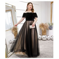 Noble Temperament Floor-length Black Black and Brown Plus Size Dress Off The Shoulder Lace-up Tulle Velvet Evening Dress
