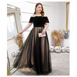 Noble Temperament Floor-length Black Black and Brown Plus Size Dress Off The Shoulder Lace-up Tulle Velvet Evening Dress