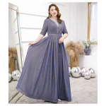 Gorgeous Floor-length Sequined Sparkle & Shine Blue Gray Plus Size Dress Deep V-neck Half Sleeves Lace-up Prom Dress New