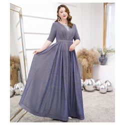 Gorgeous Floor-length Sequined Sparkle & Shine Blue Gray Plus Size Dress Deep V-neck Half Sleeves Lace-up Prom Dress