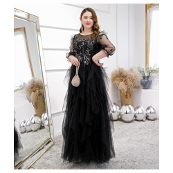 Noble And Elegant Floor Length Black Plus Size Dress Illusion Neck Hollow Lace Up 3 4 Sleeves Prom Dress With Appliques