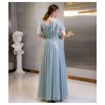 Allure Floor-length Blue Tulle Plus Size Dress V-neck Lace-up Evening Dress With Appliques New