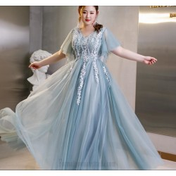 Allure Floor Length Blue Tulle Plus Size Dress V Neck Lace Up Evening Dress With Appliques