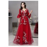 Noble Temperament Floor-length Red Tulle Plus Size Dress V-neck Fashion Half Sleeves Lace-up Three dimensional Flower Prom Dress New