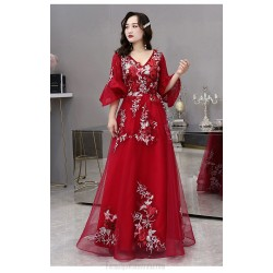 Noble Temperament Floor-length Red Tulle Plus Size Dress V-neck Fashion Half Sleeves Lace-up Three dimensional Flower Prom Dress