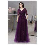 A-line Floor-length Purple Tulle Plus Size Dress V-neck Half Sleeves Lace-up Prom Dress With Sequines New