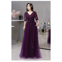 A Line Floor Length Purple Tulle Plus Size Dress V Neck Half Sleeves Lace Up Prom Dress With Sequines