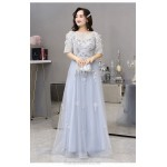 Elegant Floor-length Silver Gray Tulle Plus Size Dress Scoop Neck Half Sleeves Lace-up A-line Eveing Dress With Appliques New