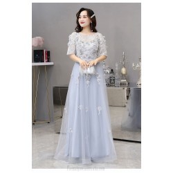 Elegant Floor-length Silver Gray Tulle Plus Size Dress Scoop Neck Half Sleeves Lace-up A-line Eveing Dress With Appliques