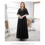 Fashion Floor-length Sequined Sparkle & Shine Black Plus Size Dress Illusion Neck Lace-up Half Sleeves Prom Dress With Sequines New