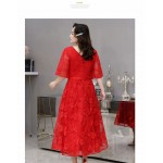 A-line Medium Length Red Plus Size Dress V-neck Half Sleeves Lace-up Eveing Dress New