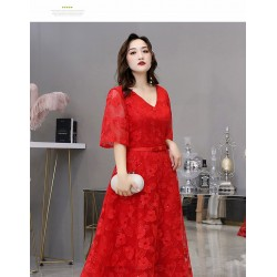 A Line Medium Length Red Plus Size Dress V Neck Half Sleeves Lace Up Eveing Dress